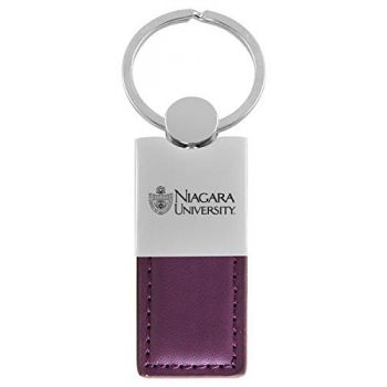Niagara University-Leather and Metal Keychain-Purple