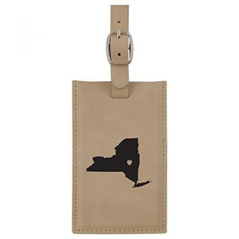 New York-State Outline-Heart-Leatherette Luggage Tag -Tan