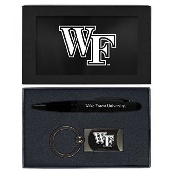Wake Forest University -Executive Twist Action Ballpoint Pen Stylus and Gunmetal Key Tag Gift Set-Black