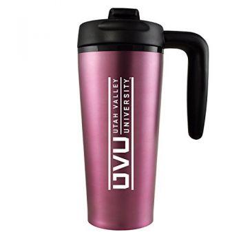Utah Valley University -16 oz. Travel Mug Tumbler with Handle-Pink