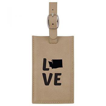 Washington-State Outline-Love-Leatherette Luggage Tag -Tan