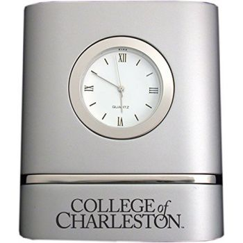 College of Charleston- Two-Toned Desk Clock -Silver