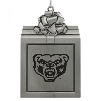 Oakland University -Pewter Christmas Holiday Present Ornament-Silver