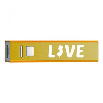 New Jersey-State Outline-Love-Portable 2600 mAh Cell Phone Charger-