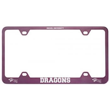 Drexel University -Metal License Plate Frame-Pink