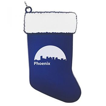 Pewter Stocking Christmas Ornament - Phoenix City Skyline