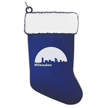Pewter Stocking Christmas Ornament - Milwaukee City Skyline