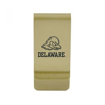 Delaware State University|Money Clip with Contemporary Metals Finish|Solid Brass|High Tension Clip to Securely Hold Cash, Cards and ID's|Silver