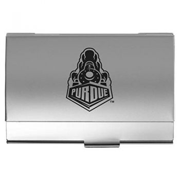 Purdue University - Two-Tone Business Card Holder - Silver