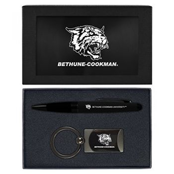 Bethune-Cookman University-Executive Twist Action Ballpoint Pen Stylus and Gunmetal Key Tag Gift Set-Black