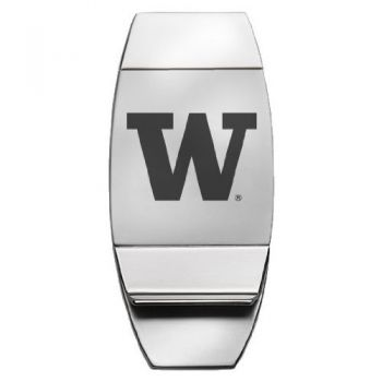 University of Washington - Two-Toned Money Clip - Silver