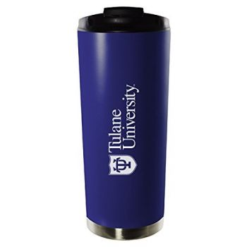 Tulane University-16oz. Stainless Steel Vacuum Insulated Travel Mug Tumbler-Blue