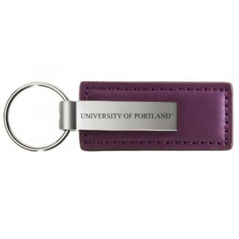 University of Portland - Leather and Metal Keychain - Purple