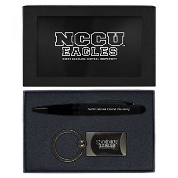 North Carolina Central University -Executive Twist Action Ballpoint Pen Stylus and Gunmetal Key Tag Gift Set-Black