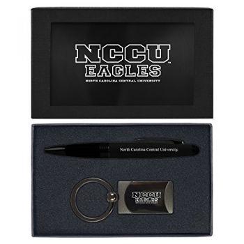 North Carolina Central University -Executive Twist Action Ballpoint Pen Stylus and Gunmetal Key Tag Gift Set-Black