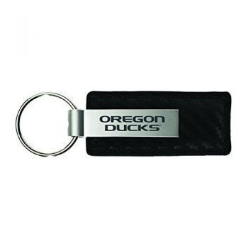 University Of Oregon-Carbon Fiber Leather and Metal Key Tag-Black