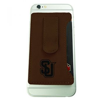 Seattle University -Leatherette Cell Phone Card Holder-Brown