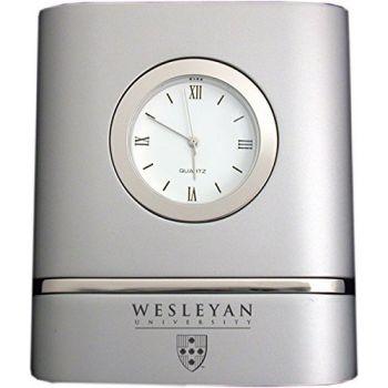Wesleyan University- Two-Toned Desk Clock -Silver