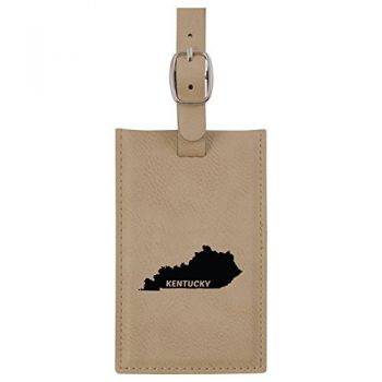Kentucky-State Outline-Leatherette Luggage Tag -Tan