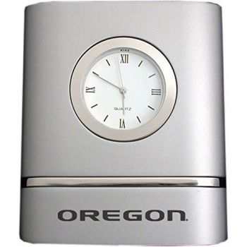 University of Oregon- Two-Toned Desk Clock -Silver