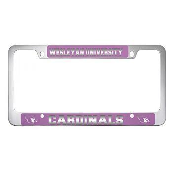 Wesleyan University -Metal License Plate Frame-Pink