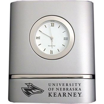 University of Nebraska at Kearney- Two-Toned Desk Clock -Silver