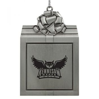 Kennesaw State University -Pewter Christmas Holiday Present Ornament-Silver