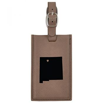 New Mexico-State Outline-Heart-Leatherette Luggage Tag -Brown