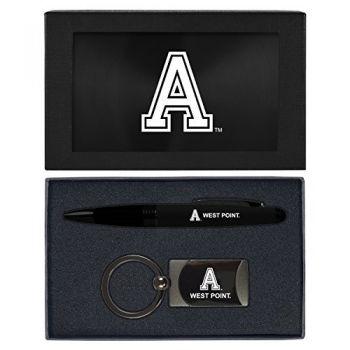 United States Military Academy -Executive Twist Action Ballpoint Pen Stylus and Gunmetal Key Tag Gift Set-Black