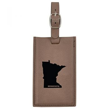 Minnesota-State Outline-Leatherette Luggage Tag -Brown