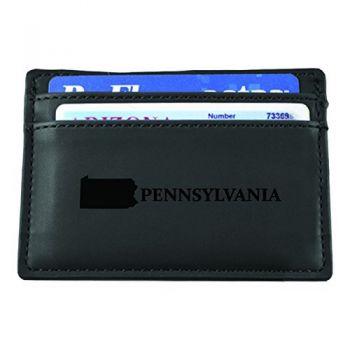 Pennsylvania-State Outline-European Money Clip Wallet-Black