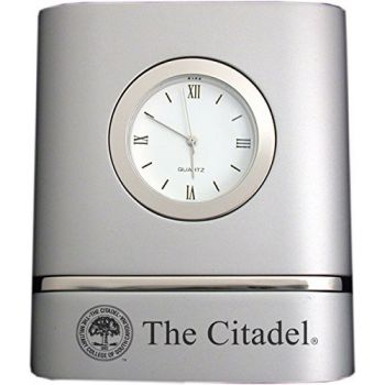 The Citadel- Two-Toned Desk Clock -Silver