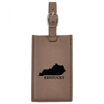 Kentucky-State Outline-Leatherette Luggage Tag -Brown