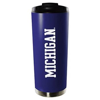 University of Michigan-16oz. Stainless Steel Vacuum Insulated Travel Mug Tumbler-Blue