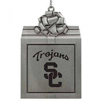University of Southern California-Pewter Christmas Holiday Present Ornament-Silver