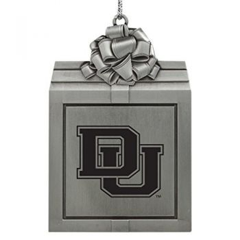 University of Denver-Pewter Christmas Holiday Present Ornament-Silver