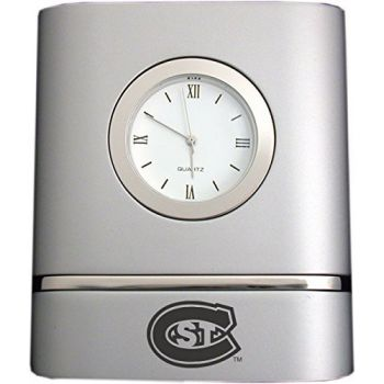 St. Cloud State University- Two-Toned Desk Clock -Silver