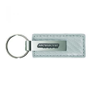 Southeastern Louisiana University-Carbon Fiber Leather and Metal Key Tag-White