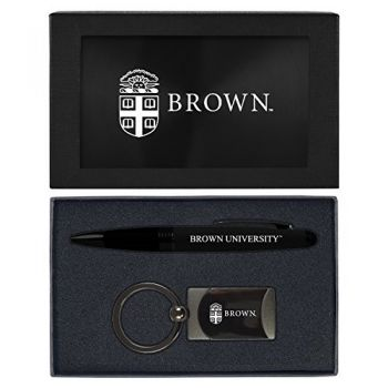 Brown University -Executive Twist Action Ballpoint Pen Stylus and Gunmetal Key Tag Gift Set-Black