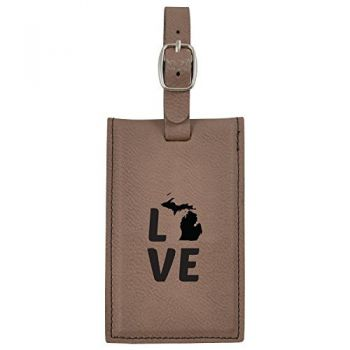 Michigan-State Outline-Love-Leatherette Luggage Tag -Brown