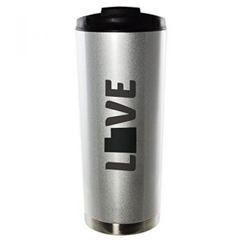 Virginia-State Outline-Love-16oz. Vacuum Sealed Travel Mug-Silver