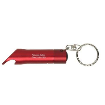 Winston-Salem State University - LED Flashlight Bottle Opener Keychain - Red