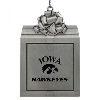 University of Iowa-Pewter Christmas Holiday Present Ornament-Silver