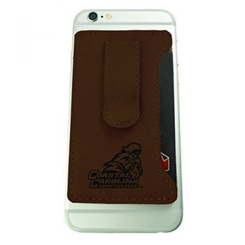 Coastal Carolina University -Leatherette Cell Phone Card Holder-Brown