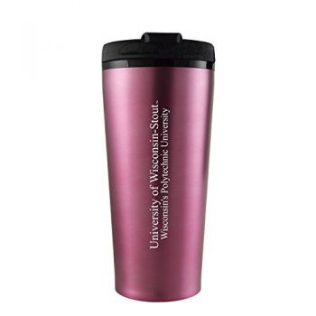 University of Wisconsin-Stout-16 oz. Travel Mug Tumbler-Pink