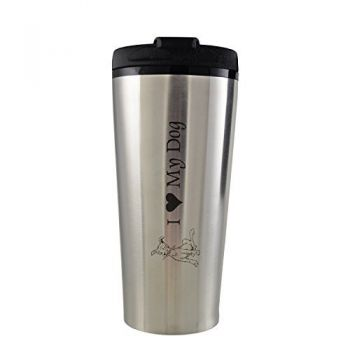 16 oz. Travel Mug Tumbler -I love my Dog-Silver