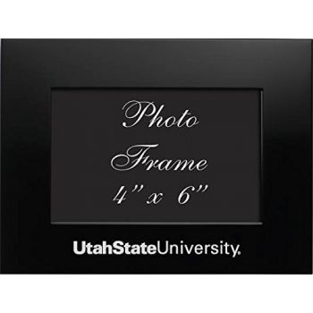 Utah State University - 4x6 Brushed Metal Picture Frame - Black