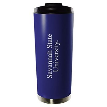 Savannah State University-16oz. Stainless Steel Vacuum Insulated Travel Mug Tumbler-Blue