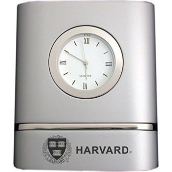Harvard University- Two-Toned Desk Clock -Silver