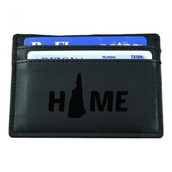New Hampshire-State Outline-Home-European Money Clip Wallet-Black